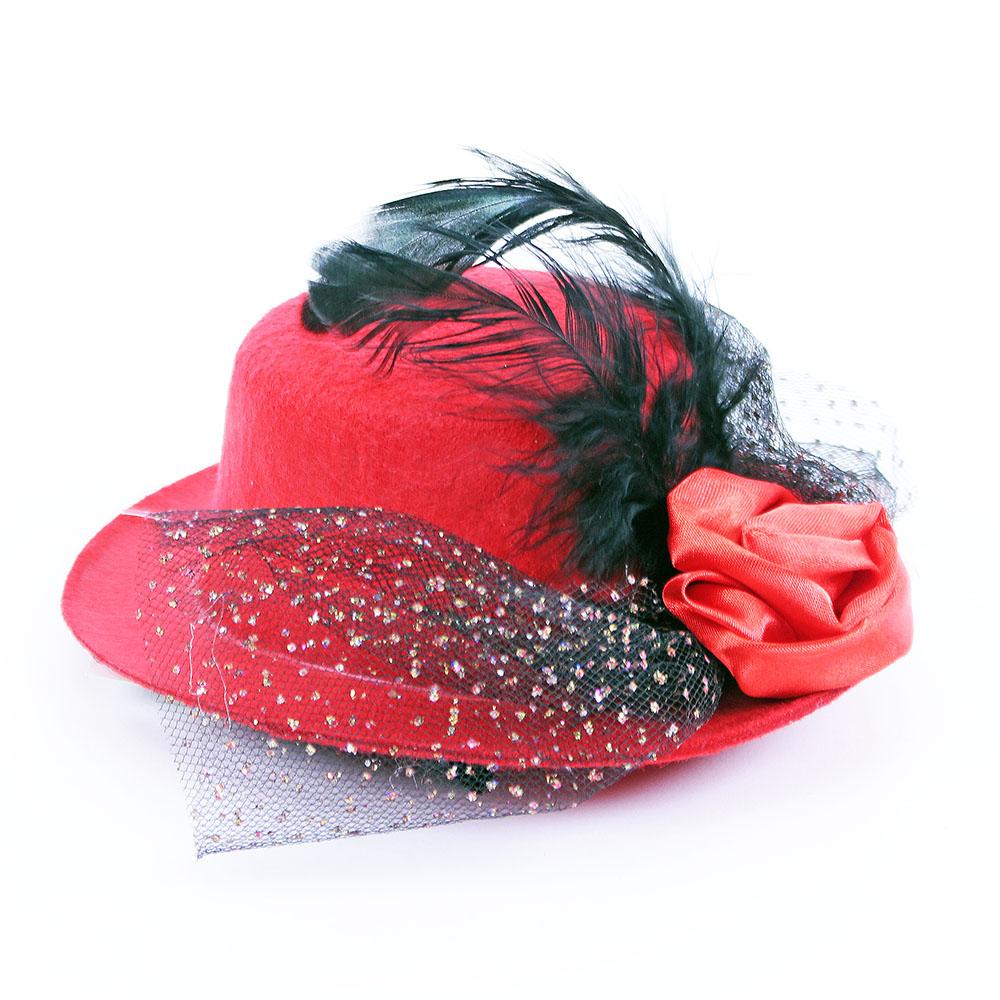 klobúk mini filc,perie+kvetina, 2 farby