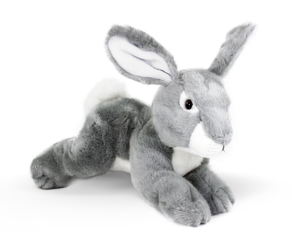 plyšový králik šedý, ležiaci, 32 cm