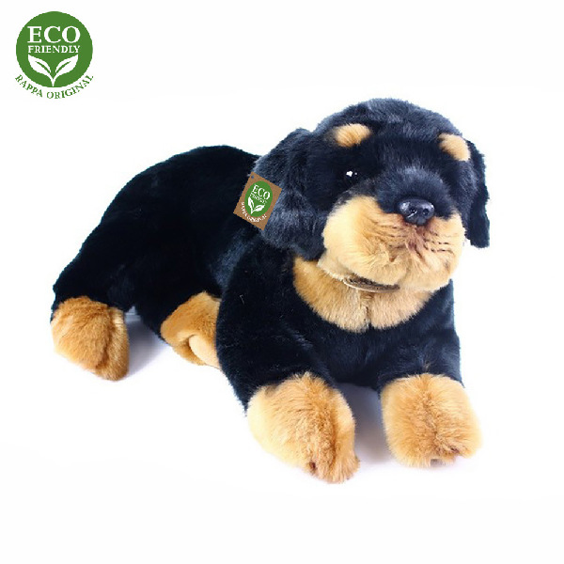 plyšový pes Rottweiler, ležiaci, 38 cm