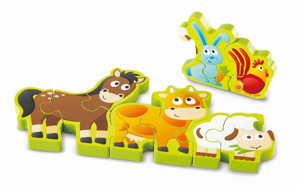 Hape - Puzzle - Zvířátka a číslice 10 dílků