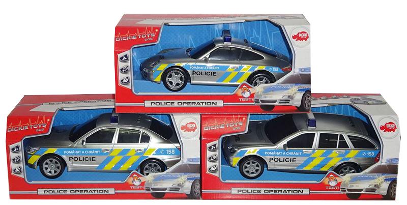 auto policajné, 3 druhy, hovorí česky