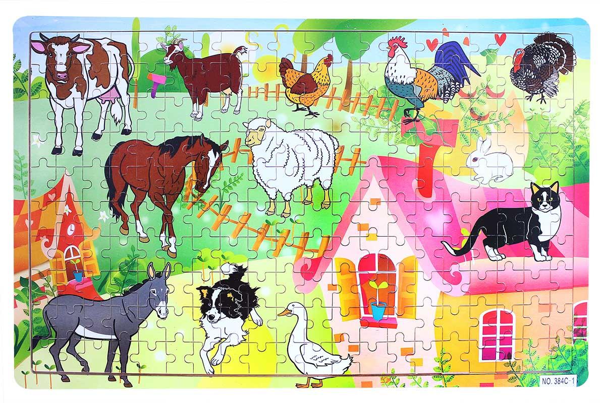 puzzle drevené zvieratá domáce