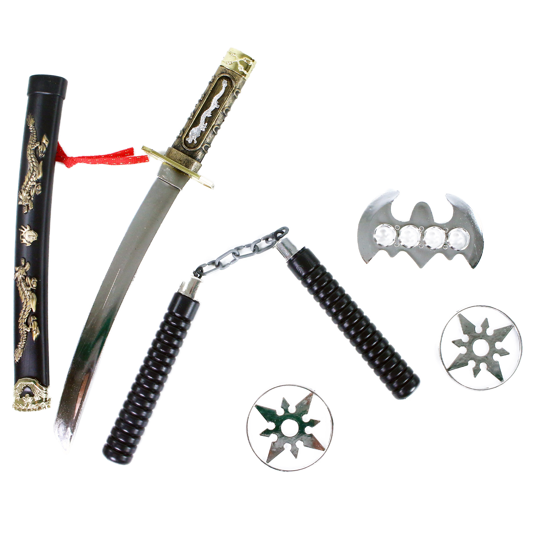 meč japonský katana s príslušenstvom, súprava 5 ks