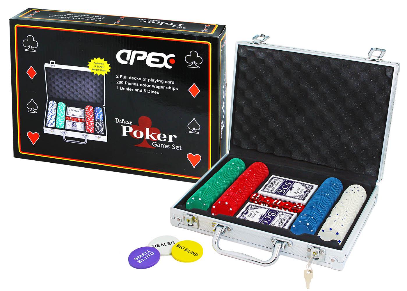 hra Poker deluxe v kufríku 200 žetónov