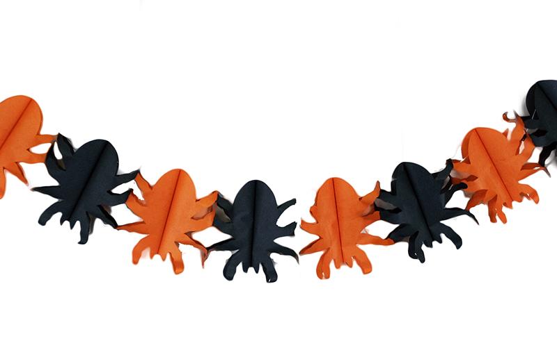 gerlandina papierová Halloween s pavúkmi, 4 m