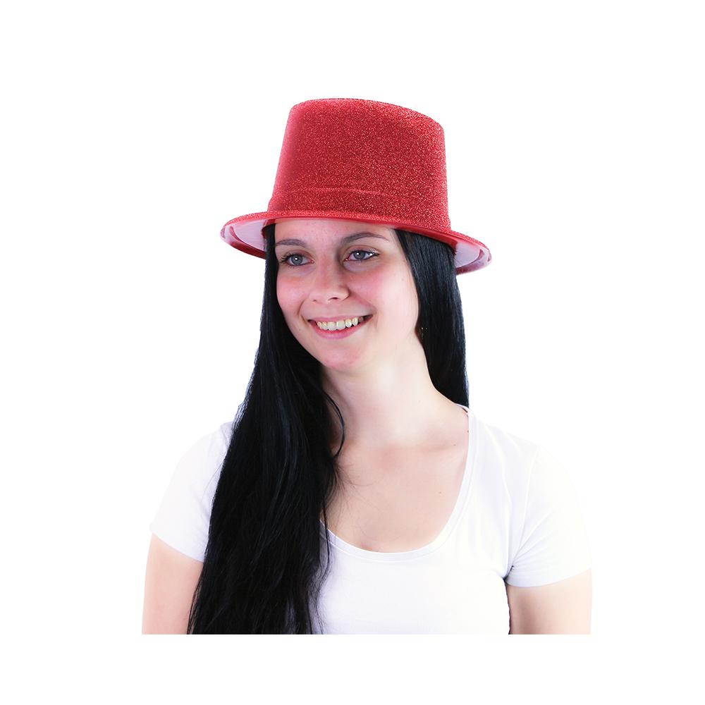 klobúk cylinder trblietavý pre dospelých, 4 druhy