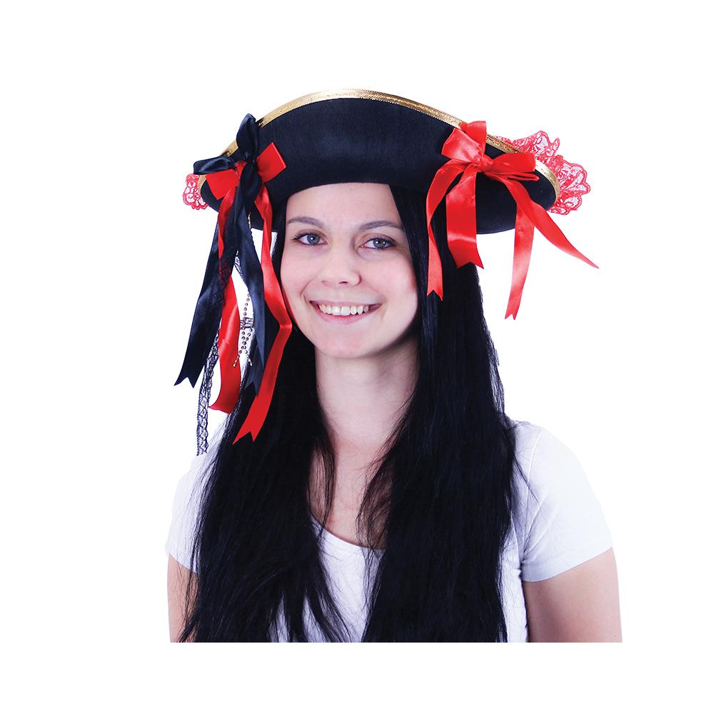 klobúk pirátský s mašľou pre dospelých