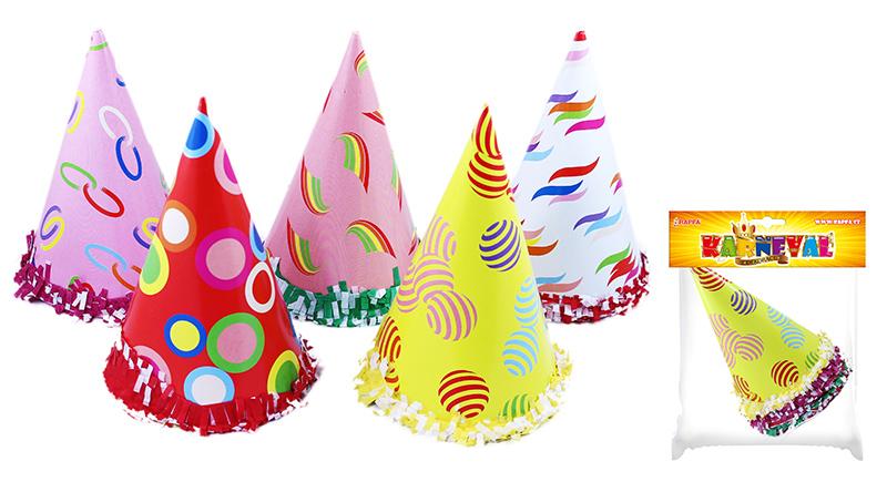 klobúk párty farebný, 6 ks vo vrecku