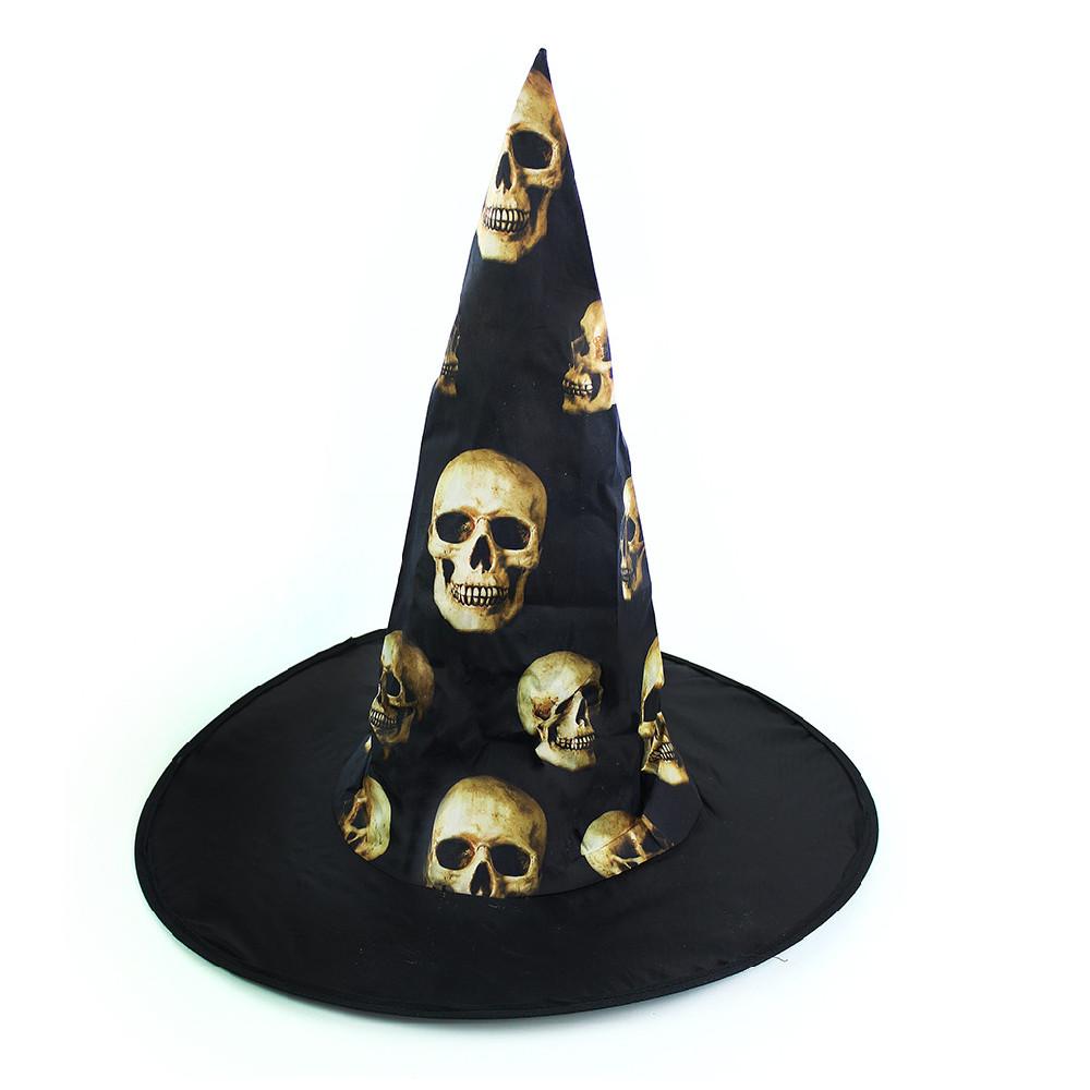 klobúk čarodejnícky s lebkami pre dospelých