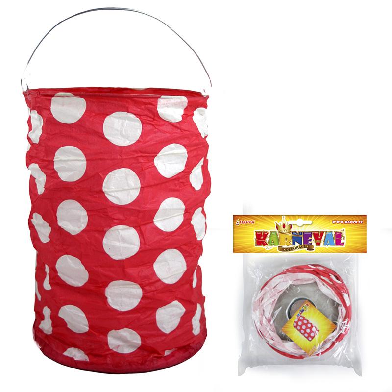 lampión červený s bodkami, krčený, 15 cm, čajová sviečka