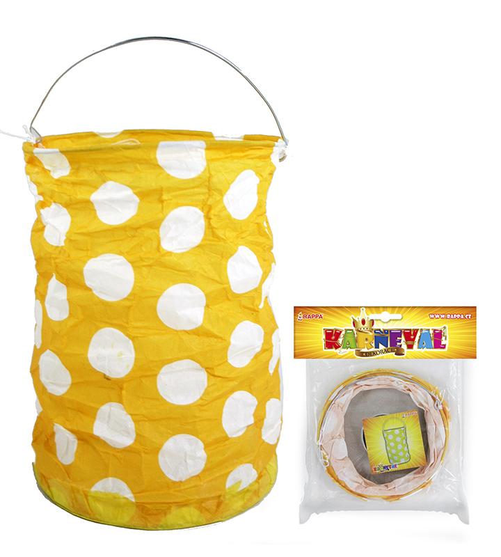 lampión žltý s bodkami, krčený, 15 cm, čajová sviečka