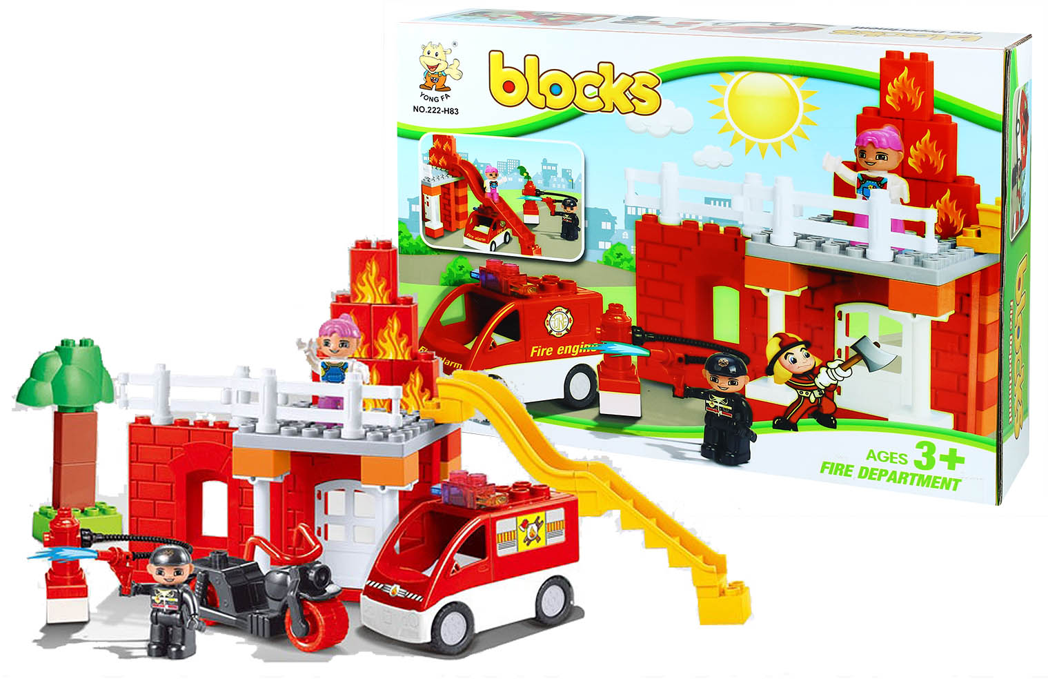 stavebnica bloks kocky hasiči, 47 ks