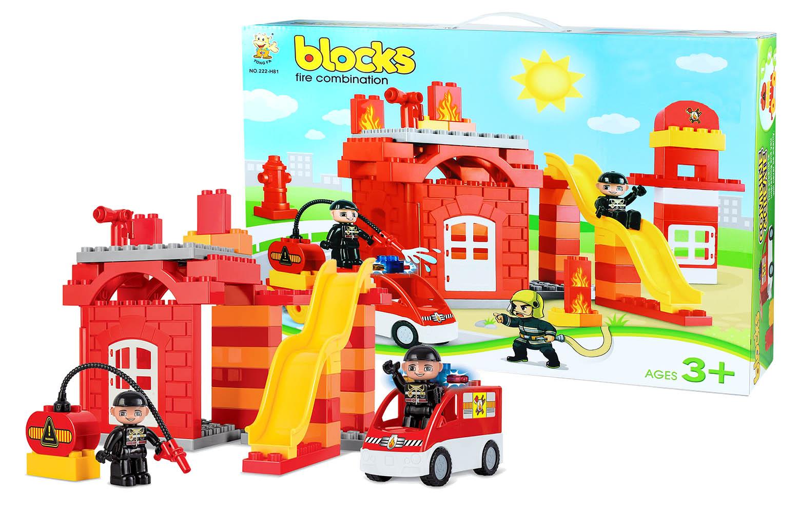 stavebnica bloks kocky hasiči, veľká sada, 63ks