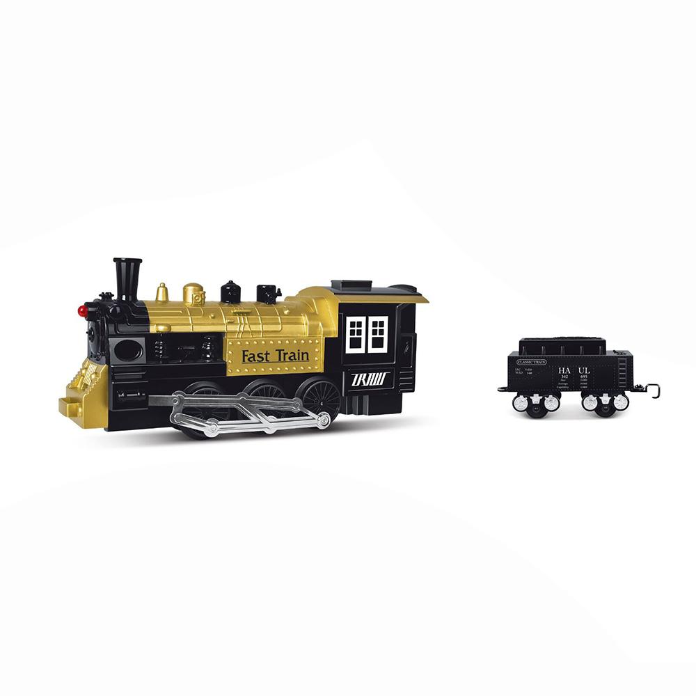 vlak s kouřící lokomotivou