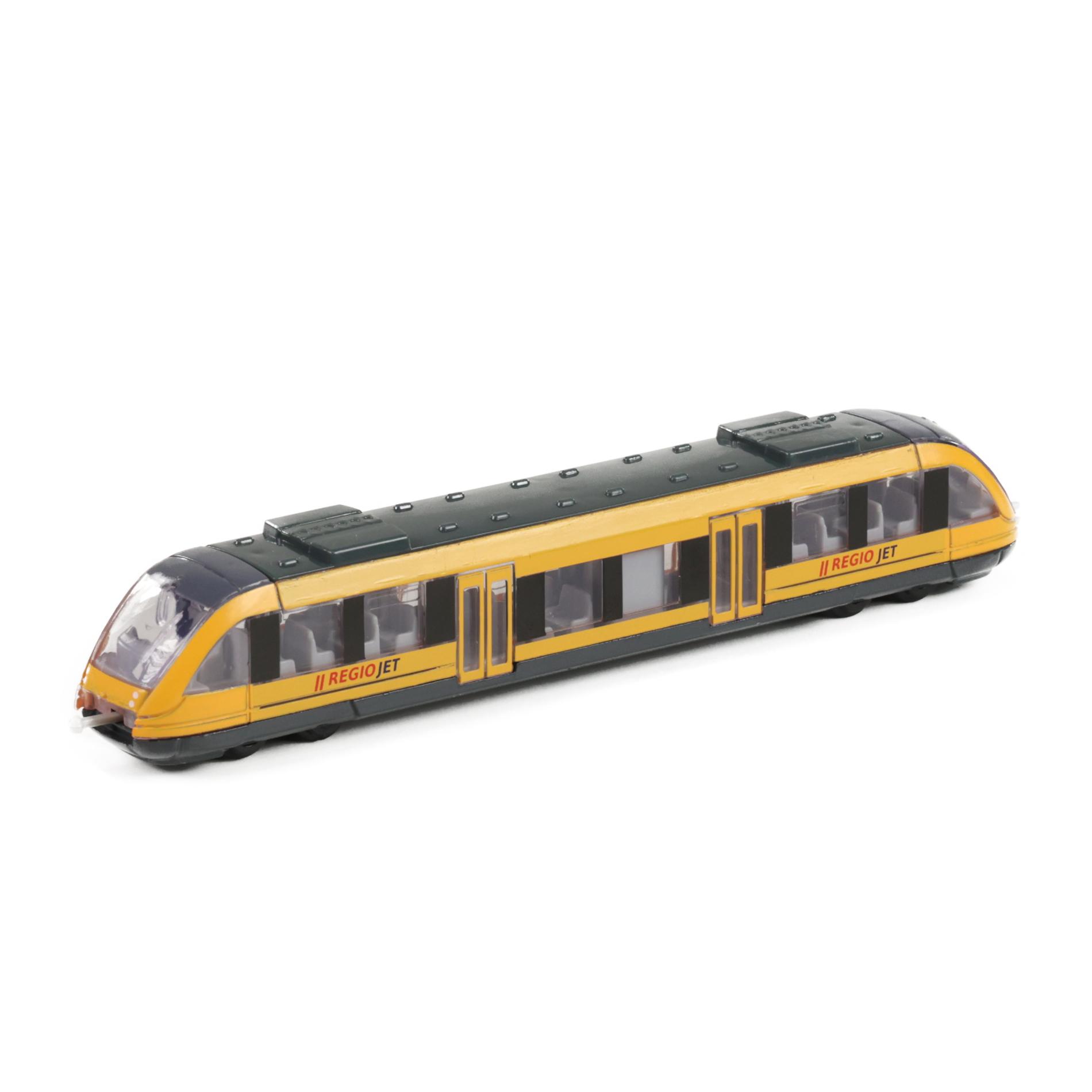 vlak žlutý RegioJet regionální kov/plast