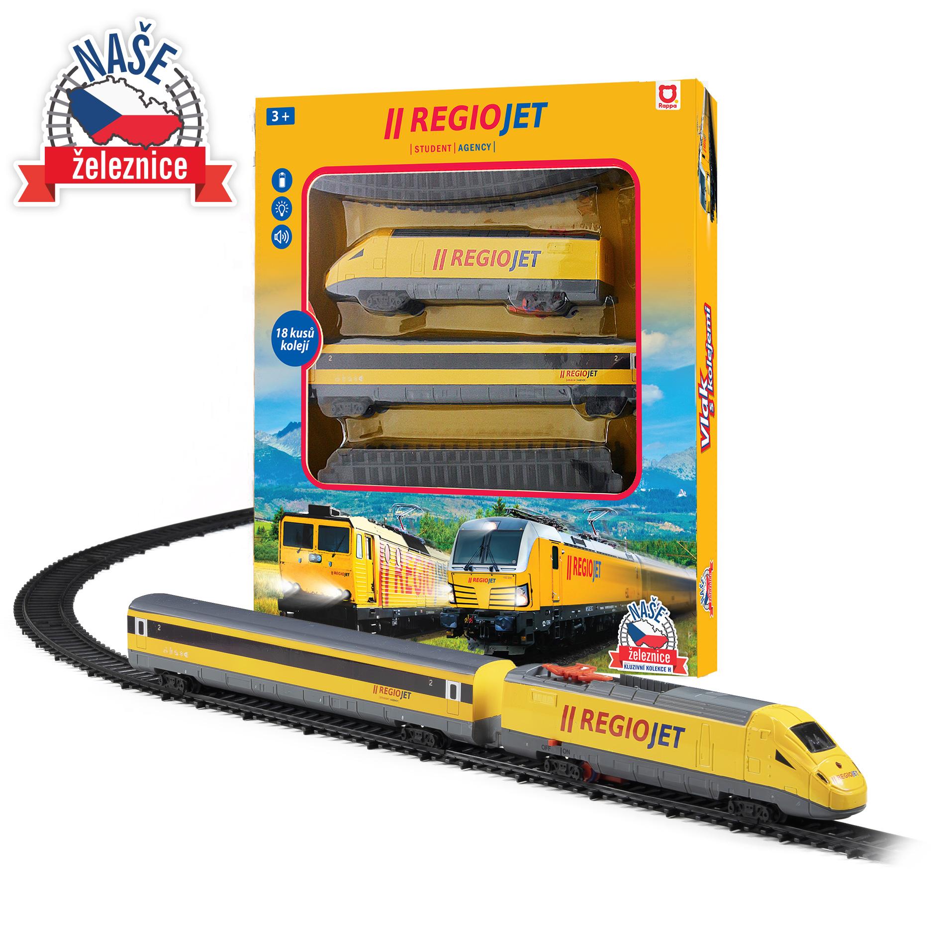vlak žlutý RegioJet se zvukem a světlem - funkční model soupravy