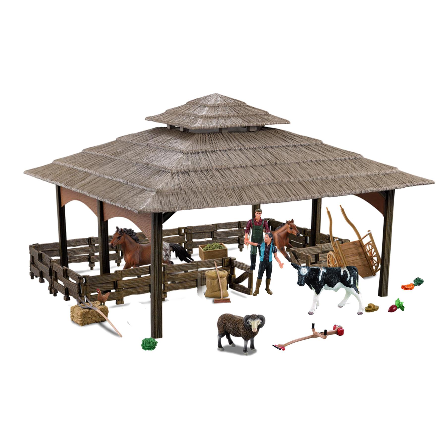 Stáj s koňmi a farmářským příslušenstvím