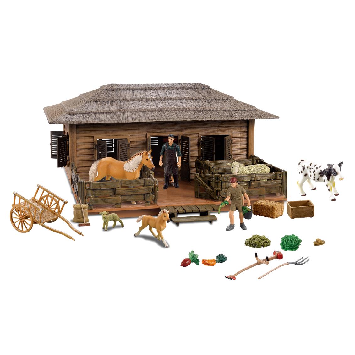 Stáj velký dům pro koně a ovce s příslušenstvím a chovateli