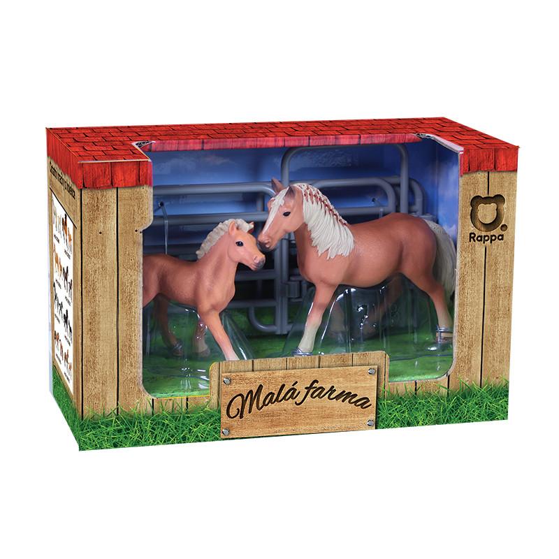 Sada koně 2 ks s ohradou hnědý se světlou hřívou