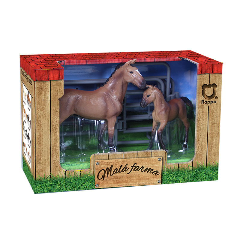 Sada koně 2 ks s ohradou hnědý s bílou skvrnou