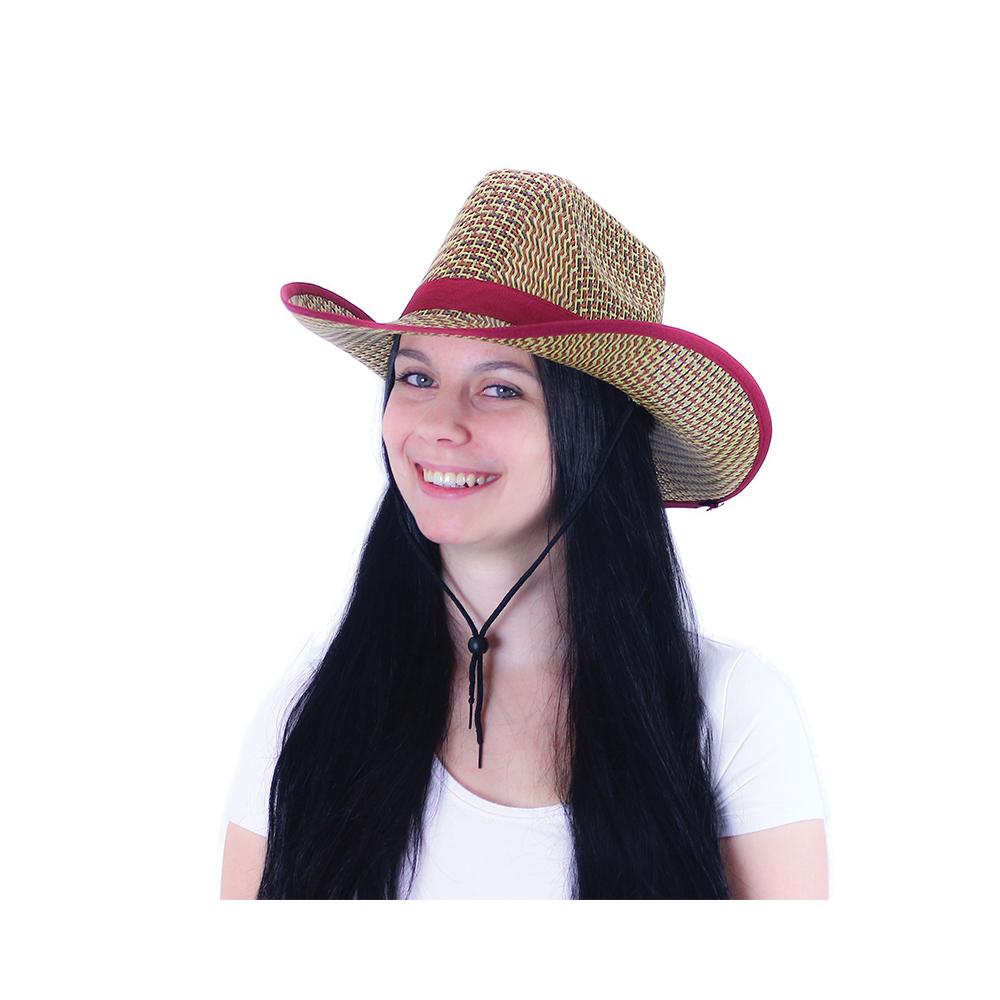 klobúk kovbojský vínový pre dospelých