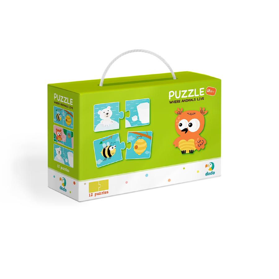 Puzzle Duo Kde bydlí zvířátka-12x2 dílků