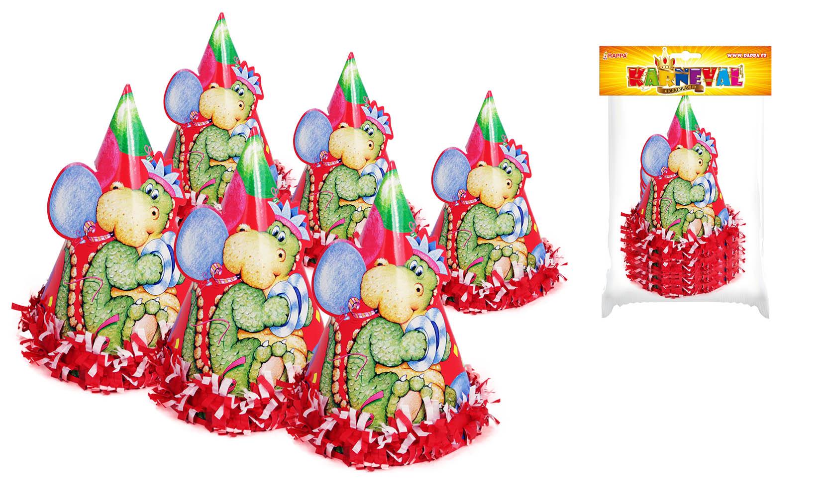 klobúk párty dino so strapcami, 6 ks