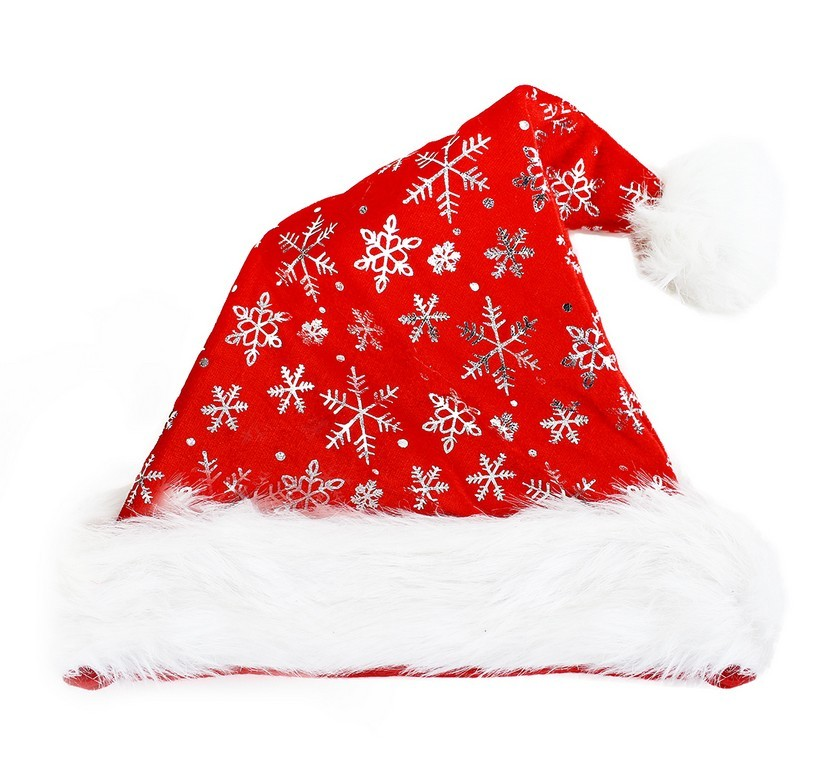 čiapka vianočná strieborné vločky