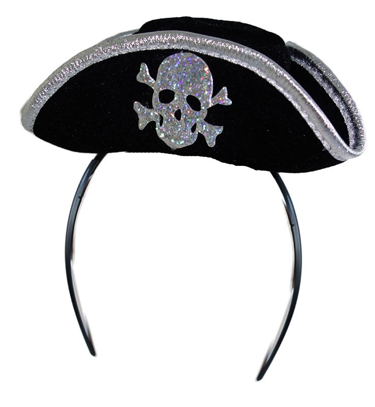 čelenka s mini pirátskou čiapkou pre dospelých