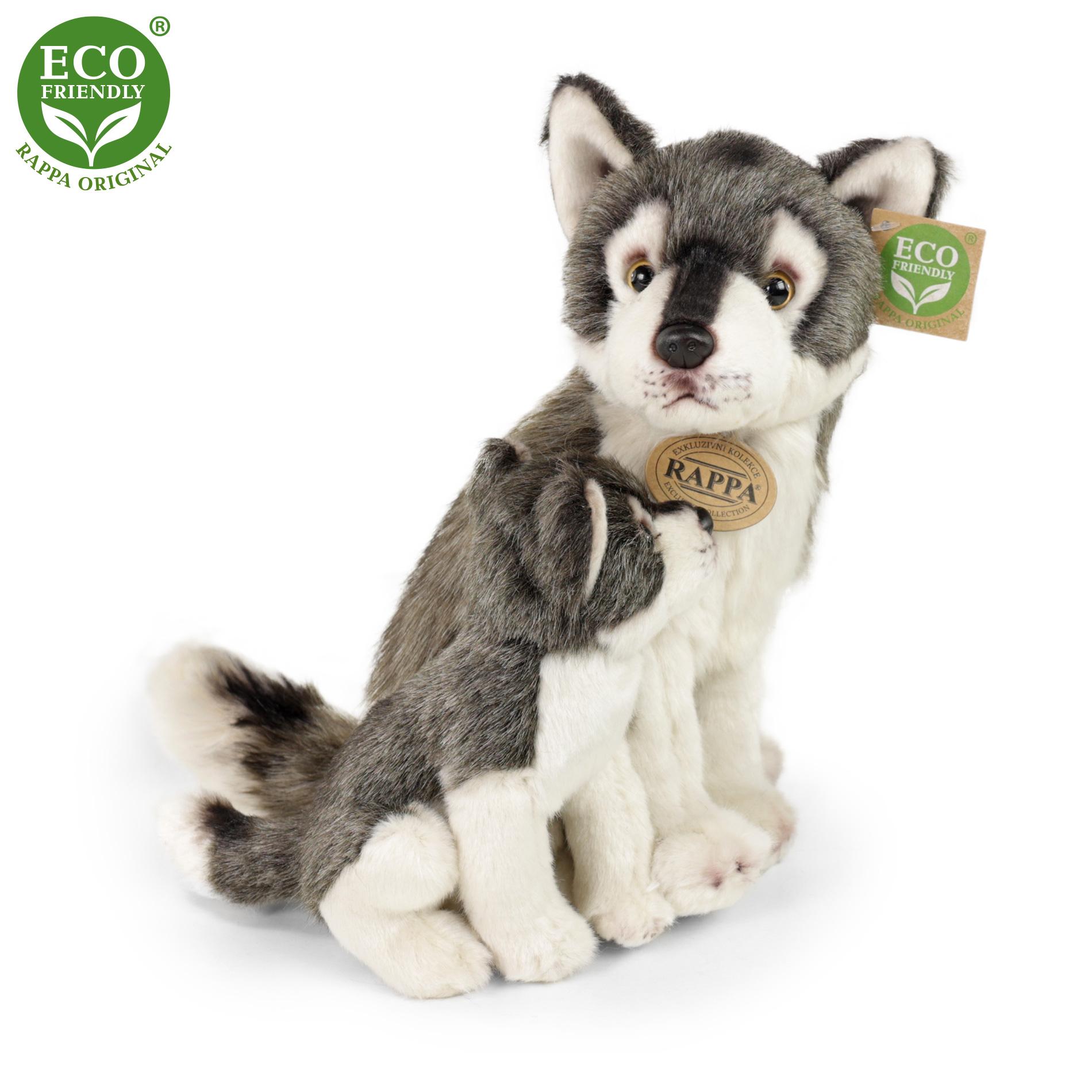 plyšový vlk s mláďaťom sediaci, 27cm