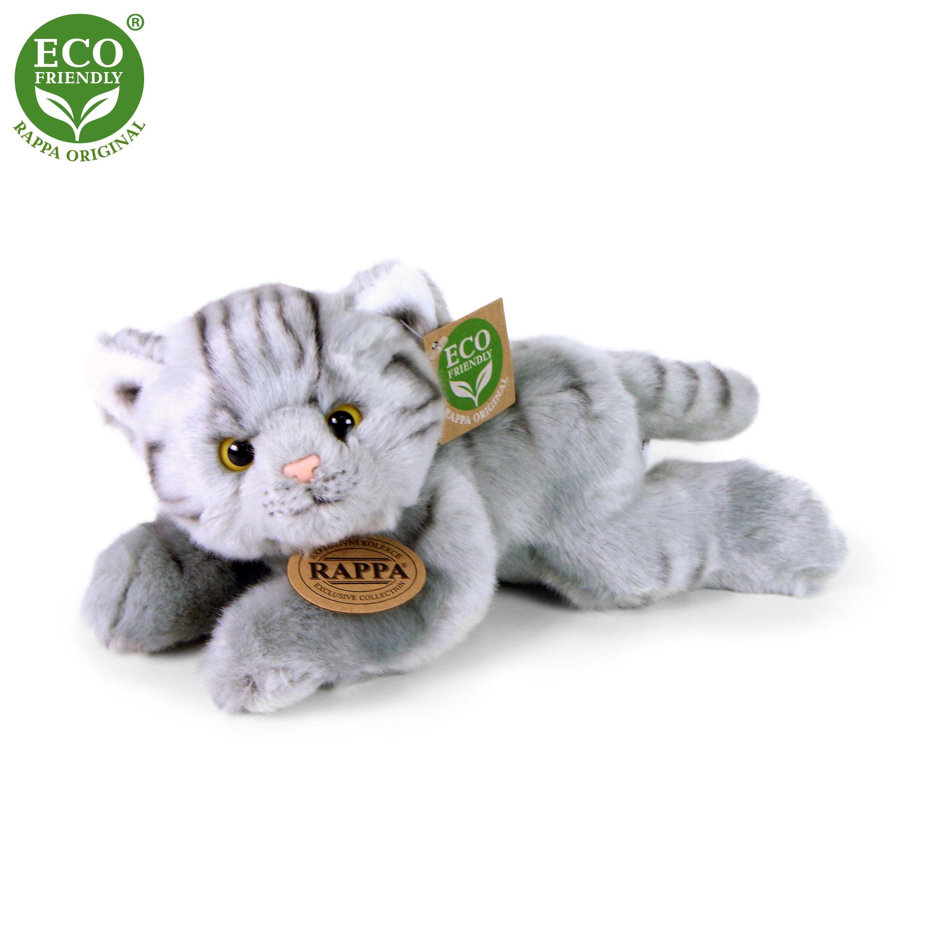 plyšová mačka ležiaca, 3 druhy, 16 cm