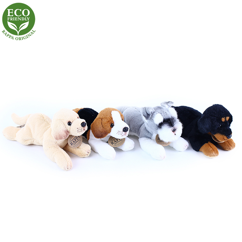 plyšový pes ležiaci, 4 druhy, 16 cm