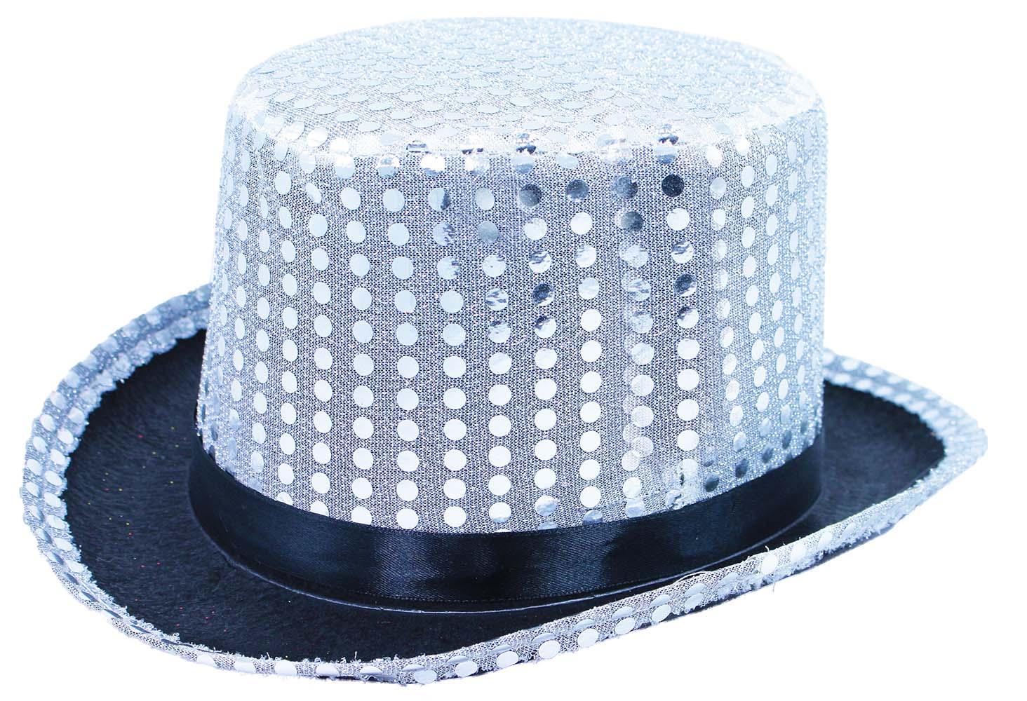 klobúk cylinder s flitrami a stuhou pre dospelých