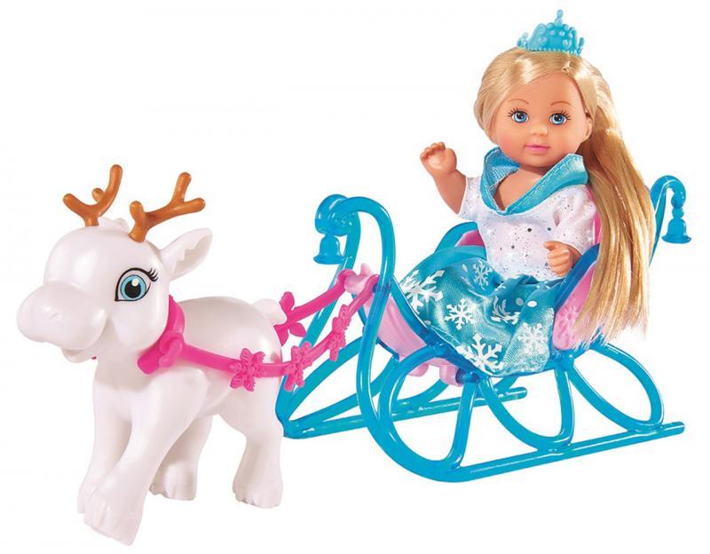 Bábika Evička Snehová princezná s kočiarom