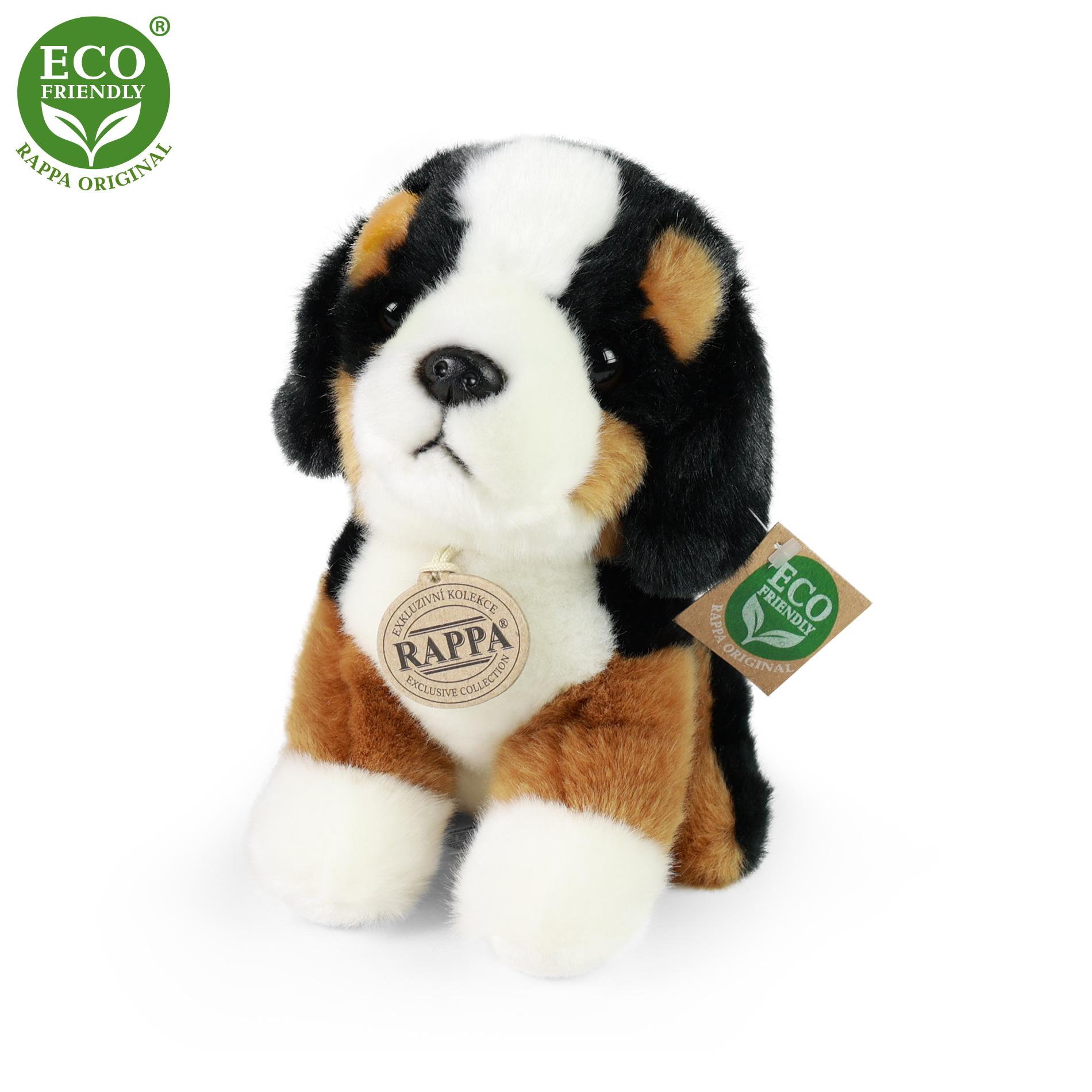 plyšový pes salašnícky sediaci, 18 cm