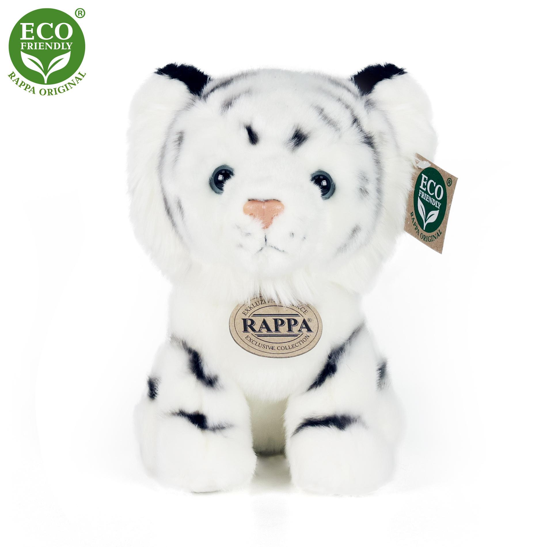 plyšový tiger biely sediaci, 18 cm
