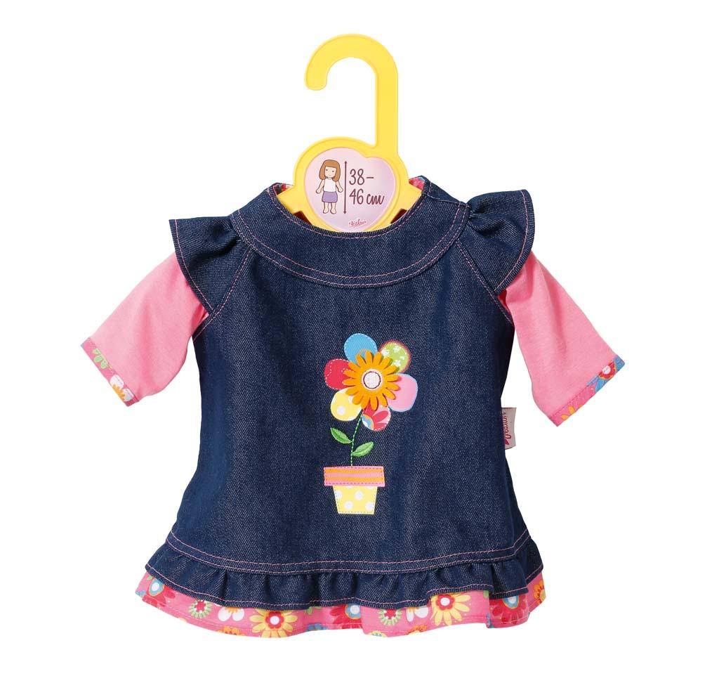 Dolly Moda oblečení džínové šaty, 38-46 cm