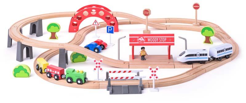 Vláčkodráha s elektrickou mašinkou a viaduktem 60 dílů