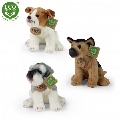 plyšový pes 3 druhy, jack russell, knírač a německý ovčák sedící, 20 cm