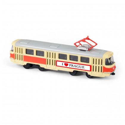 unikátní kovová tramvaj 16 cm na zpětný chod PRAGUE