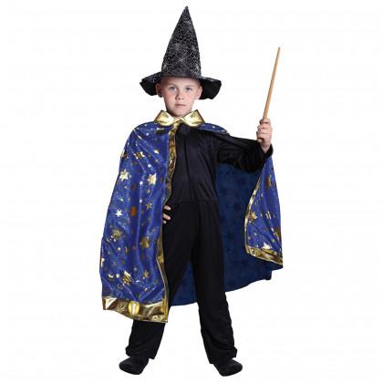 Dětský kouzelnický modrý plášť s hvězdami čarodějnice / Halloween