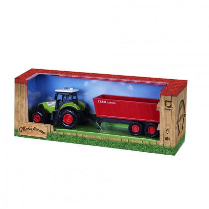 Traktor plastový se zvukem a světlem s červenou vlečkou