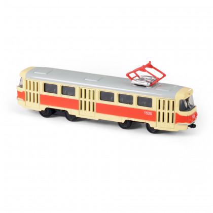 Kovová česká retro tramvaj, 16 cm
