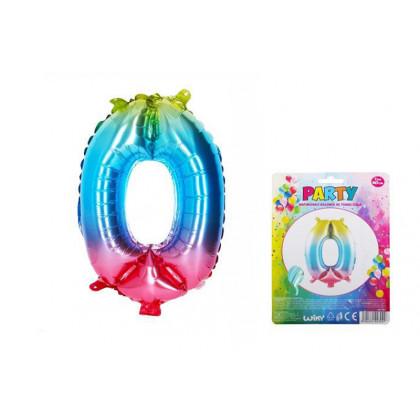 Balónek nafukovací - číslo 0 duhový