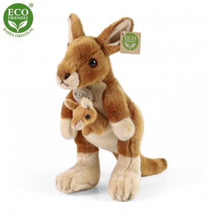 Plyšový klokan s mládětem, 27 cm