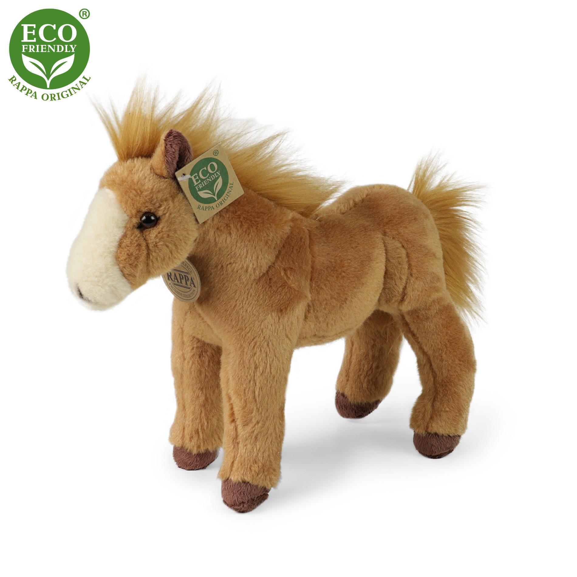 Plyšový kůň stojící světle hnědý 28 cm ECO-FRIENDLY