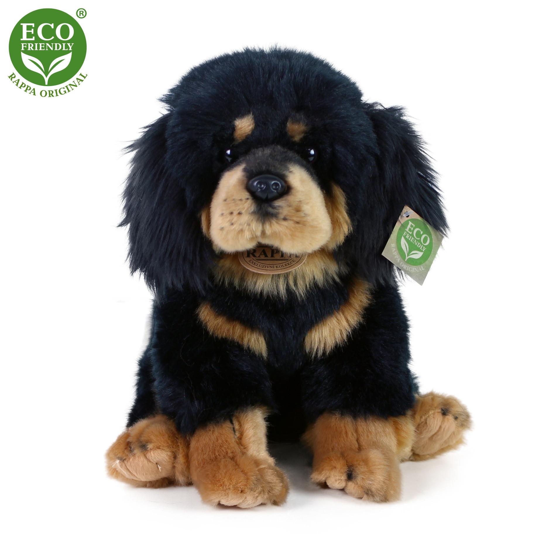 Plyšový pes Tibetská doga - mastiff sedící 26 cm