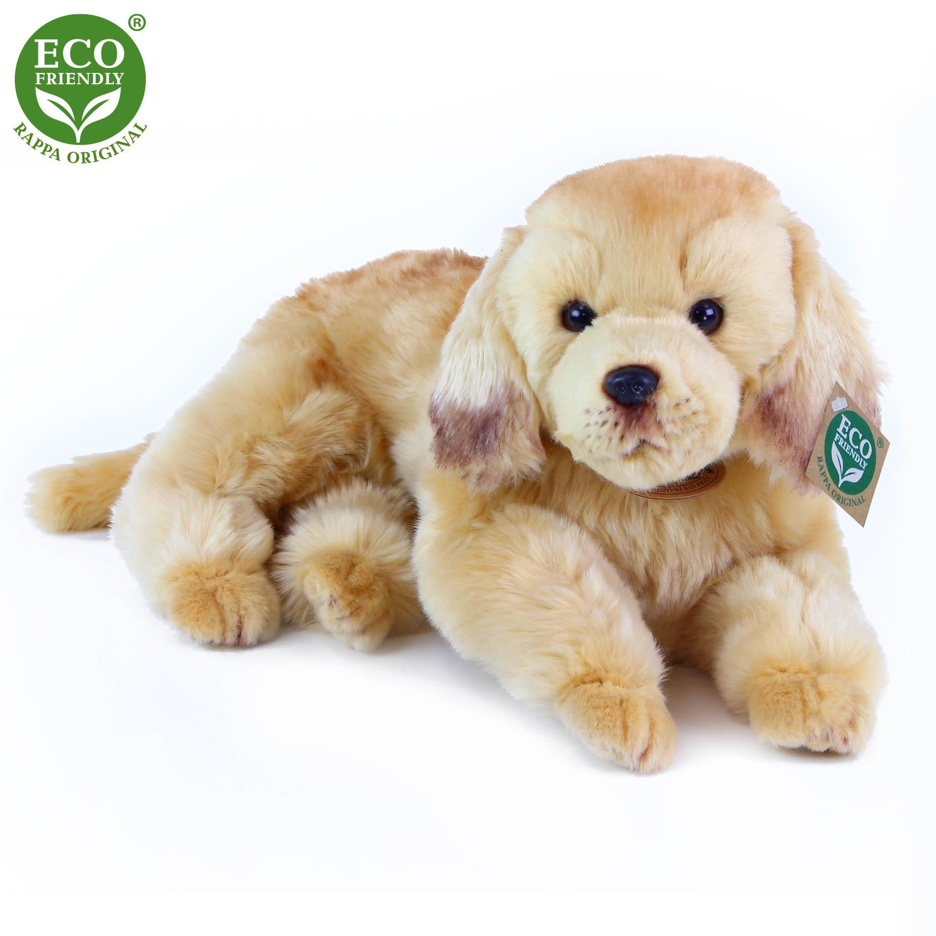 plyšový pes zlatý retrívr ležící, 32 cm
