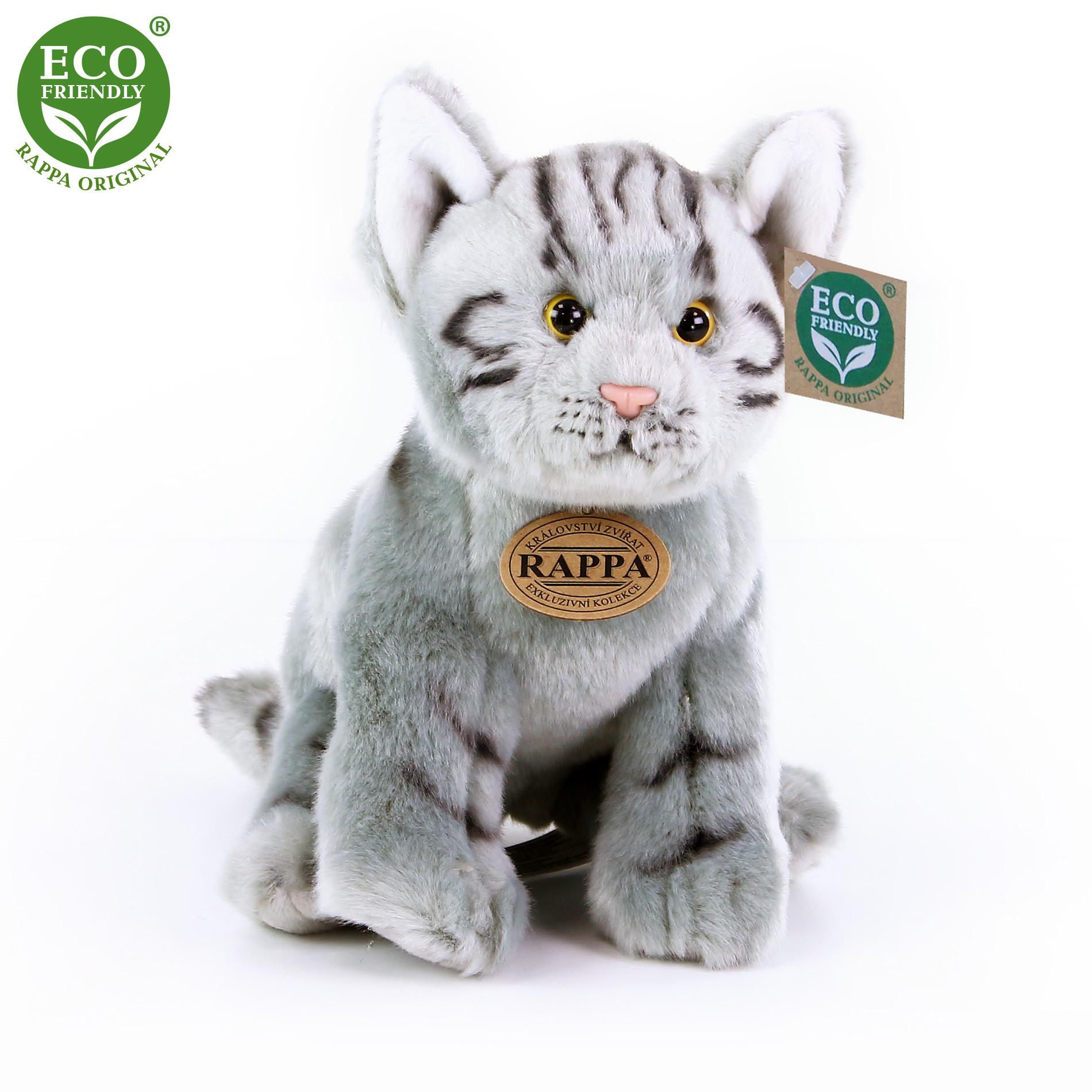 plyšová kočka šedá sedící, 24 cm