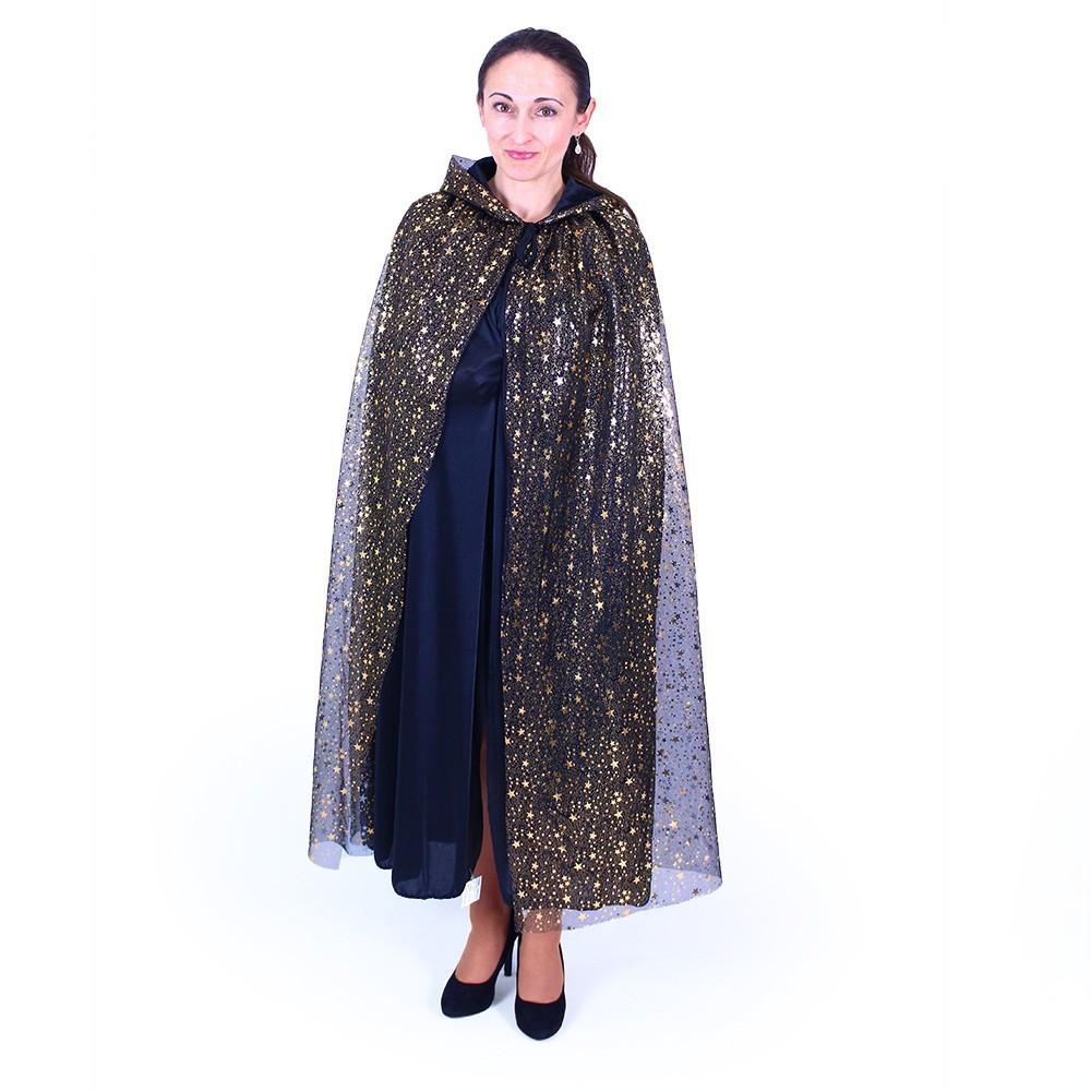 Plášť čarodějnický s kapucí pro dospělé čarodějnice / Halloween